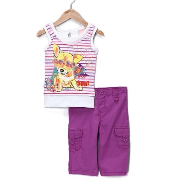 Purple Stripe Tank top & pants girls 24 months
